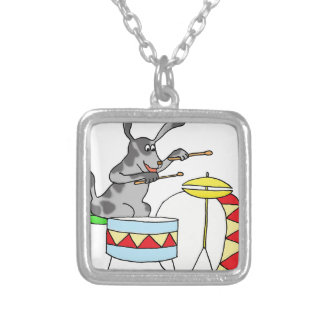 Musical Dog playing drums Silver Plated Necklace