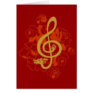 Musical Dragon treble clef peonies Custom Card