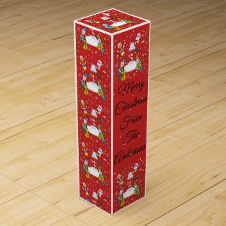 Musical Elves at North Pole Wine Gift Box