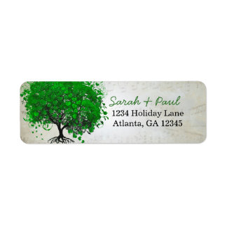 Musical Emerald Heart Leaf Tree Return Address