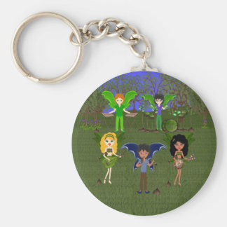 Musical Faerie Band in Enchanting Field Keychain
