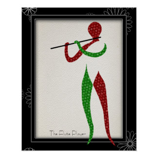 Musical Flute Player Dressed in Bandana Poster