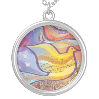 Musical Flying Dove Silver Memory Gift Necklace