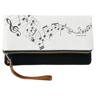 Musical Fold Over Clutch White & Black