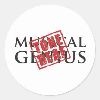 Musical genius: tone deaf rubber stamp round sticker
