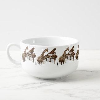 Musical Giraffe Plays Grand Piano Soup Mug