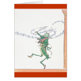 Musical Grasshopper Playing Violin Card