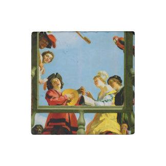 Musical Group on Balcony Dutch Painter Fine Art Stone Magnets