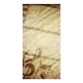 MUSICAL GRUNGE DIGITAL TEMPLATE SEPHIA MUSIC NOTES PHOTO GREETING CARD