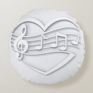 Musical heart round pillow