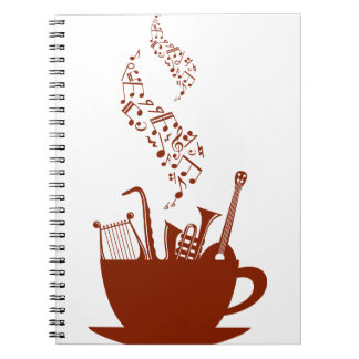 Musical Instruments And Notes Spiral Notebook