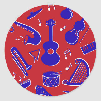 Musical Instruments Classic Round Sticker