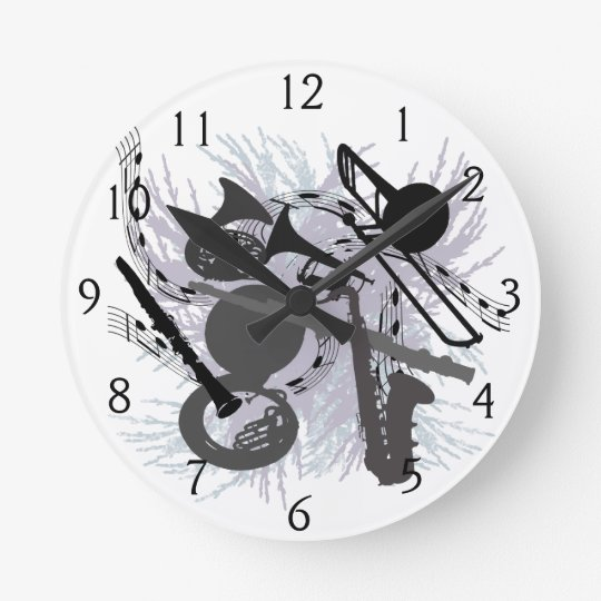 Musical Instruments Round Clock