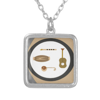 musical instruments silver plated necklace
