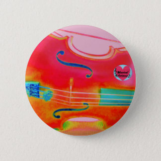 Musical Lifetimes Red Cello Round Pin Badge