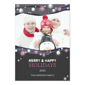 Musical Lights Unique Holiday Family Photo Card