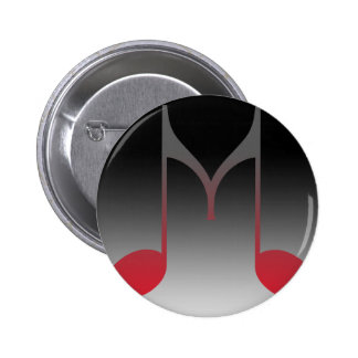 """Musical """"M"""" Letter 2 Inch Round Button"""
