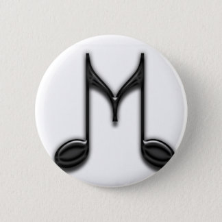 "Musical ""M"" Letter 2 Inch Round Button"