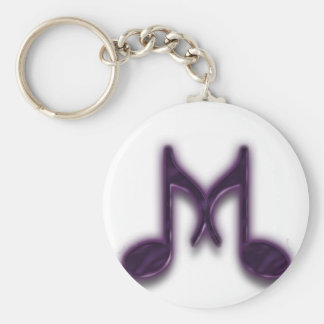 "Musical ""M"" Letter Basic Round Button Keychain"
