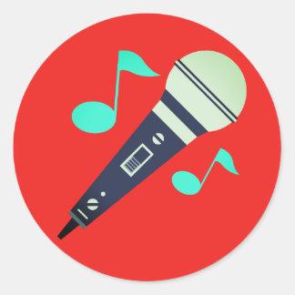 Musical Microphone Emoji Classic Round Sticker