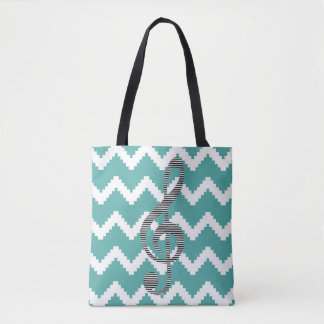 Musical note - Abstract geometric pattern - blue. Tote Bag