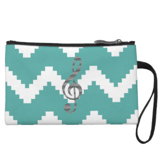 Musical note - Abstract geometric pattern - blue. Wristlet
