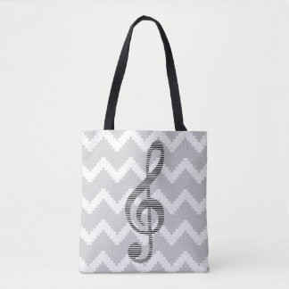 Musical note - Abstract geometric pattern - gray. Tote Bag