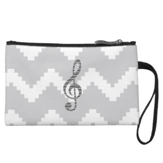 Musical note - Abstract geometric pattern - gray. Wristlet