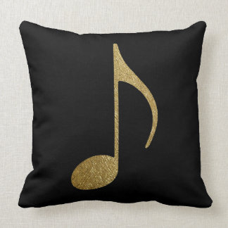musical note gold & black throw pillow