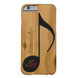 musical note on wood grains personalized barely there iPhone 6 case