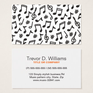 Musical note pattern black and white music business card