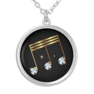 Musical Note Rhinestone Diamond Design Silver Plated Necklace