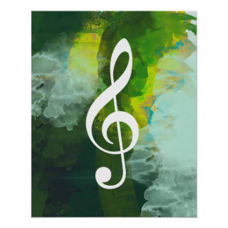 musical note, treble clef, green watercolor poster
