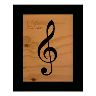 musical note, treble clef on wood, custom poster
