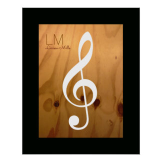 musical note, treble clef on wood, personalized poster