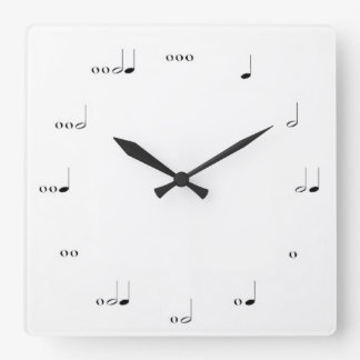 MUSICAL  NOTE   WALL CLOCK BLACK AND WHITE