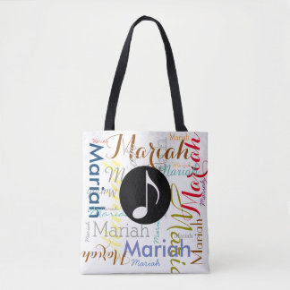 musical note with colorful names tote bag