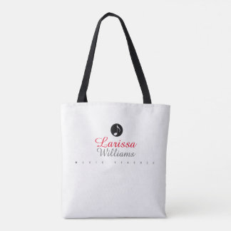 musical note with music teacher name tote bag