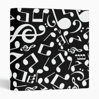 Musical Notes 2 (Black-White) 3 Ring Binders
