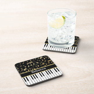 Musical Notes and Piano Keys Black and Gold Beverage Coasters