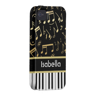 Musical Notes and Piano Keys Black and Gold iPhone 4 Covers