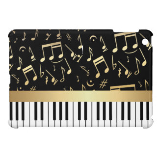 Musical Notes and Piano Keys Black and Gold iPad Mini Cover