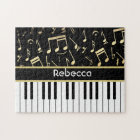 Musical Notes and Piano Keys Black and Gold Jigsaw Puzzle