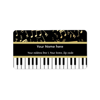 Musical Notes and Piano Keys Black and Gold Label