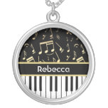 Musical Notes and Piano Keys Black and Gold Custom Necklace