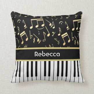 Musical Notes and Piano Keys Black and Gold Throw Pillow
