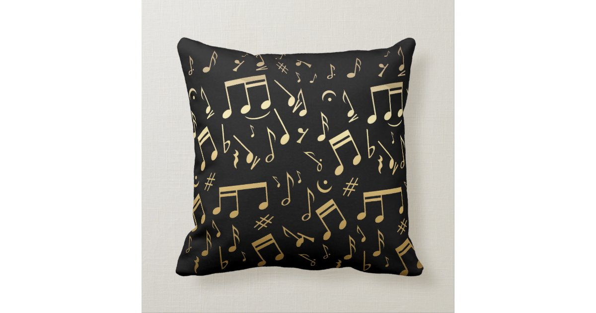 Musical Notes and Piano Keys Black and Gold Throw Pillows Zazzle