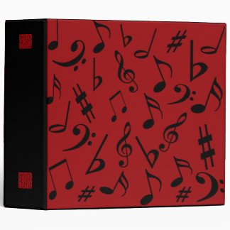 Musical Notes Binder - Red