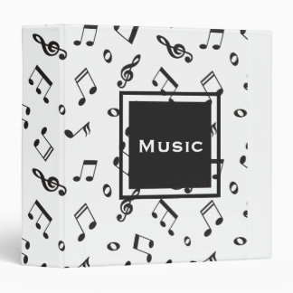 Musical Notes Black and White Binder