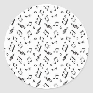 Musical Notes Black and White Classic Round Sticker